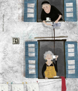 A woman pours tea out a window to her downstairs neighbor holding a teacup